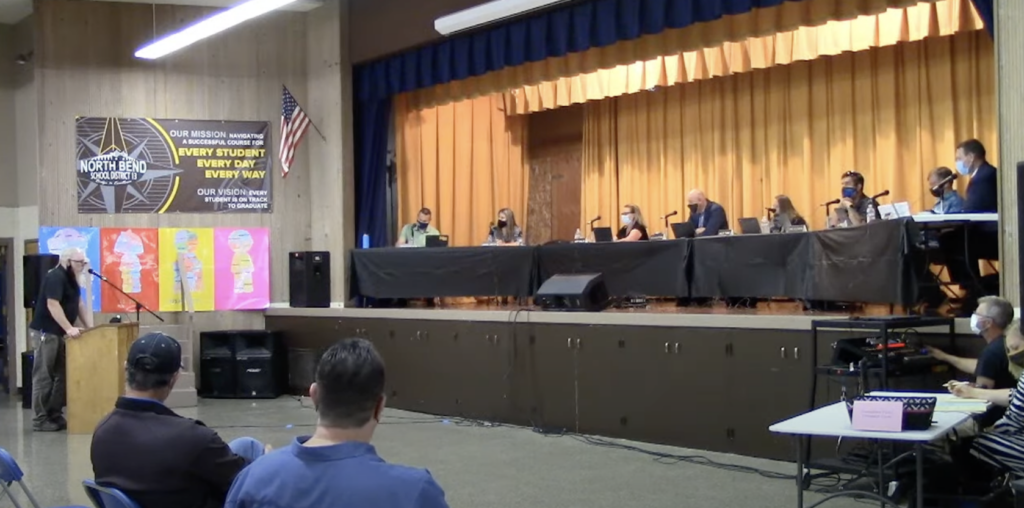 School board meeting held in North Bend, Oregon